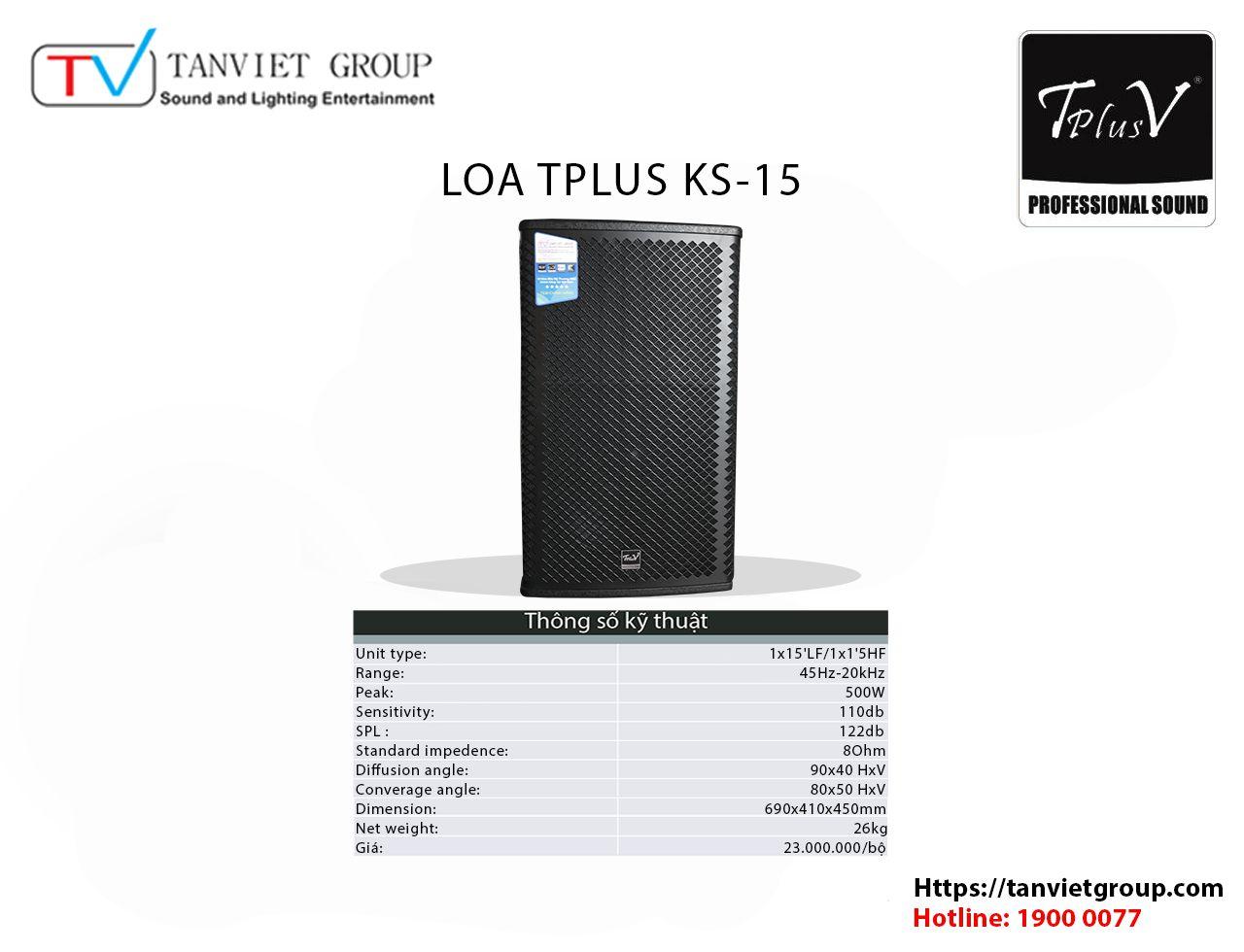 Loa TPLUS – Model KS 15